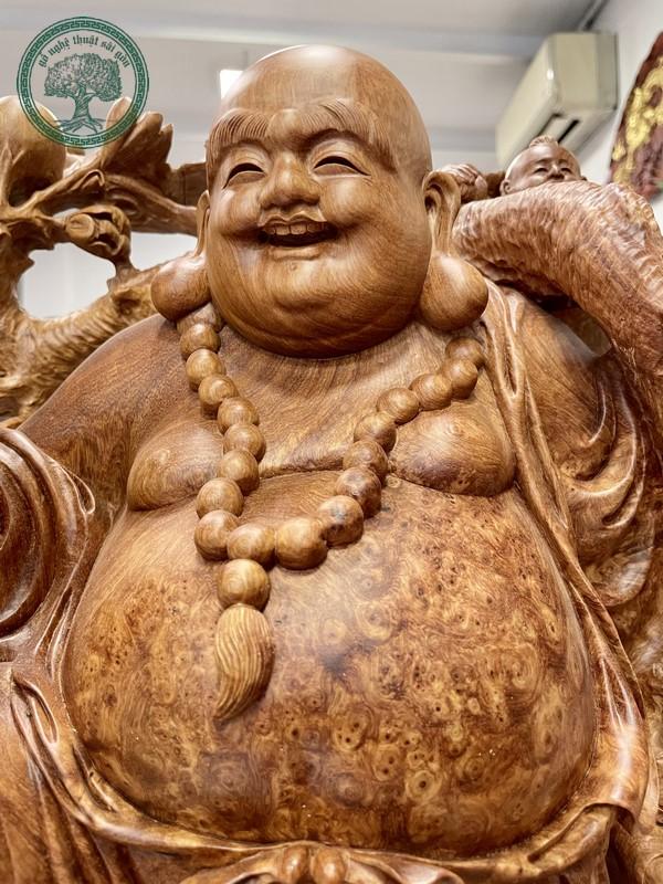 tượng phật di lặc ngũ phúc gỗ nu hương