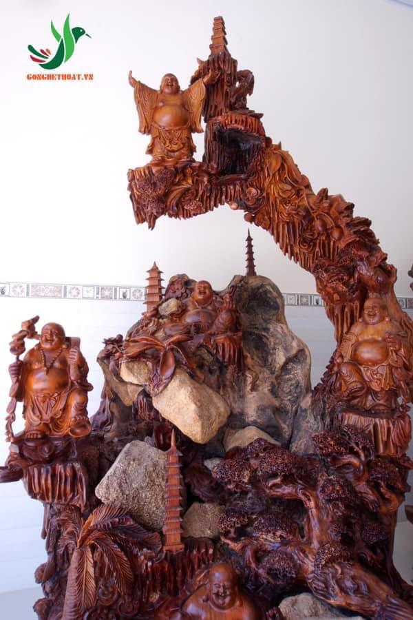 tượng gỗ Phật Di Lặc Ngũ Phúc gỗ hương với kích thước khủng