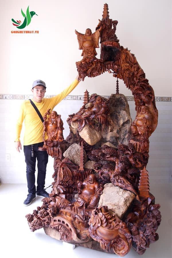 Tượng Phật Di Lặc Gỗ Hương Khủng siêu kỹ