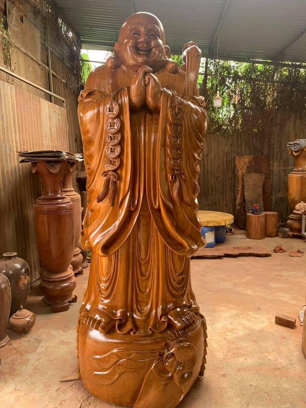 tượng phật di lặc chúc phúc gỗ mít siêu khủng
